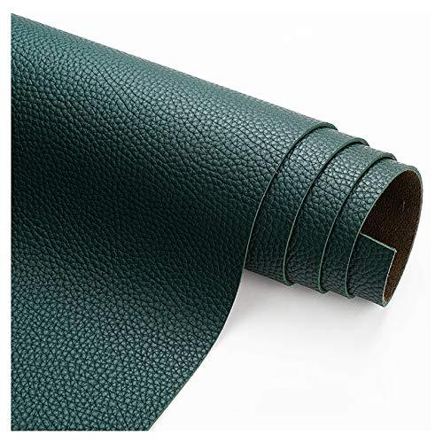 wangk Tela De Cuero Tela de Polipiel Venta de Lychee Pattern Thick 1.9mm Polipiel por Metrospara reparación de sofás Costura Elaboración Proyectos de Bricolaje -Verde Oscuro 1.38x10m