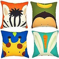 Gspirit 4 Pack Niños Linda Caricatura Animal Algodón Lino Throw Pillow Case Funda de Almohada para Cojín 45x45 cm