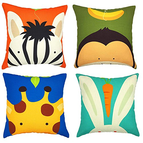 Gspirit 4 Pack Niños Linda Caricatura Animal Algodón Lino Throw Pillow Case Funda de Almohada para Cojín 45x45 cm