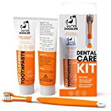Dog Toothbrush With Toothpaste | Approved Dog Dental Kit | Triple Headed Deep Cleaning Toothbrush For Dogs + 100% Natural Toothpaste | Freshen Breathe & Remove Plaque From Teeth
