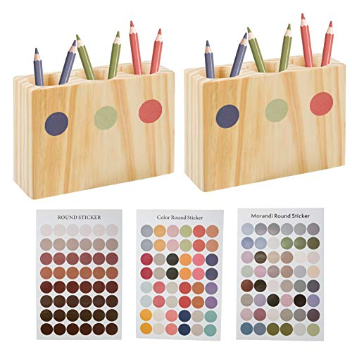 2 Pcs Montessori Wooden Pencil Holder Organizer and 3 Sheets Colorful Stickers- Montessori Color Sorter Desktop Wooden Crayon Organizer Back-to-School Gift for Kids Toddlers