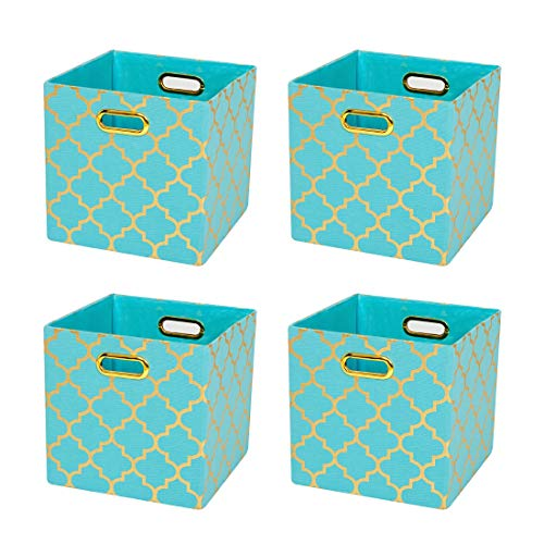 Posprica Foldable Storage Bins,11×11 Storage Baskets Cube Boxes Containers Closet Organizers,More Durable Fabric Drawers (4pcs, Aqua/Gold Lantern)
