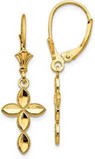 14k Yellow Gold Cross Religious Leverback Earrings Lever Back Fine Jewelry Gifts For Women For Her