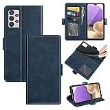 AKC Funda Compatible para Samsung Galaxy A32 4G Carcasa Caja Case con Flip Folio Funda Cuero Premium Cover Libro Cartera Magnético Caso Tarjetero y Suporte-Azul