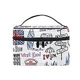 COOSUN London Doodles - Neceser de lona para cosméticos de viaje, con asa superior y organizador de cosméticos multifunción para mujer