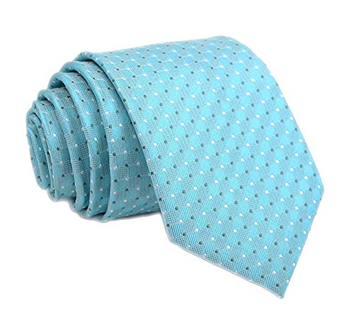 Men Bright Aqua Hued Summer White Ties Turquoise Neckties For Big Boy Youth Son