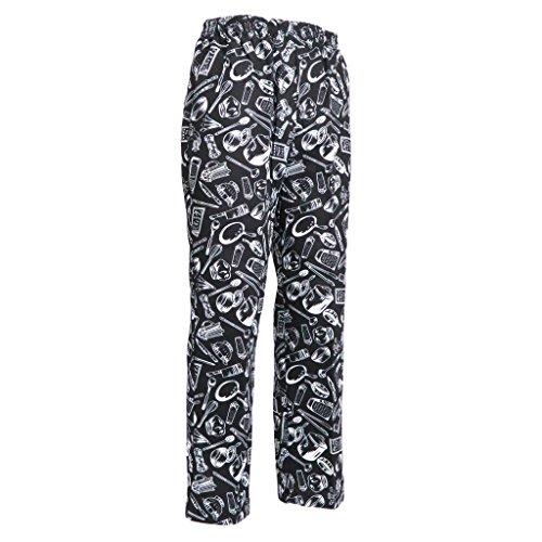 Hellery Pantalones Holgados de Cocinero Casual Suelto Transpirable