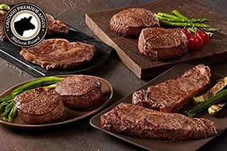 Chicago Steak Angus 8 piece Steak Set- Have a Taste of Prime Beef! – Gourmet Steak Sampler –Includes 2 Black Angus Complete Trim Filet Mignon Steaks: 2 Boneless Strips: 2 Sirloin Steaks & 2 Ribeye