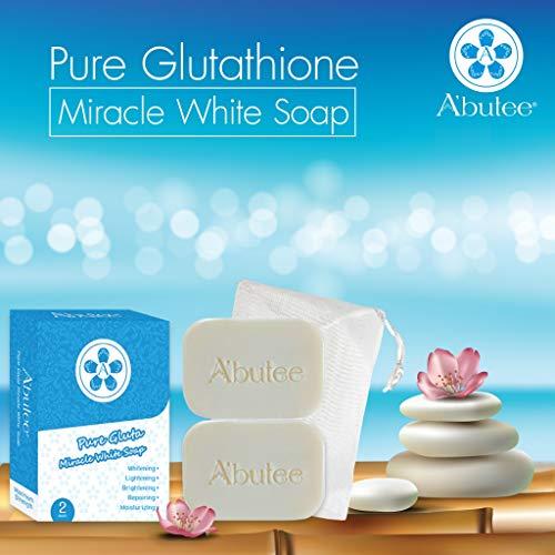 ARBUTEE | Pure Glutathione Skin Brightening Whipp Soap for Glowing & Radiance Skin, Dark Spots, Rejuvenate, Uneven Skin Tone | Maximum Strength, NO SLS, NO Paraben, Cruelty Free(2 Bars, Pure Gluta+Mesh)