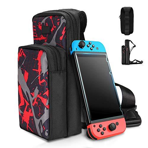 Tasche für Switch, Reisetasche Kompatibel mit Nintendo Switch, Crossbody Bag Tragetasche Umhängetasche mit Schulter Verstellbarer für Switch/Switch LITE Konsole, Joy-Cons, Dock und Andere Zubehör