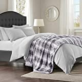 Madison Park Zuri Soft Plush Luxury Oversized Faux Fur Throw Animal Stripes Design, Mink On The Reverse Modern Cold Weather Blanket For Bed, Sofa Couch, 96x80, Grey