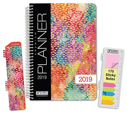 HARDCOVER Calendar Year 2019 Planner: (November 2018 Through December 2019) 5.5x8 Daily Weekly Monthly Planner Yearly Agenda. Bonus Bookmark, Pocket Folder and Sticky Note Set (Watercolors)