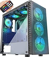MUSETEX Mesh ATX Mid-Tower Computer Gaming Case with 6 PCS × 120mm LED ARGB Fans USB 3.0 Port Mesh Front Panel & Tempered Glass PC Chassis(G05MN6-HW)