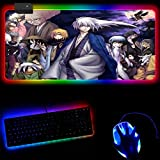 Anime boy Manga RGB Mouse Pad Extended Led Gaming Large Mouse Mat Pc Accessories Anti-Slip Rubber Base Computer Keyboard Pad 40x90x0.4cm