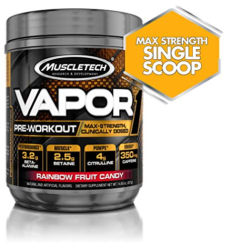 Muscletech Vapor One Pre Workout Powder, One Scoop Formula with Betaine HCL, Creatine and Beta Alanine to Boost Energy & Amplify Muscle Building, Rainbow Fruit Candy, 20 Servings (14.8oz)