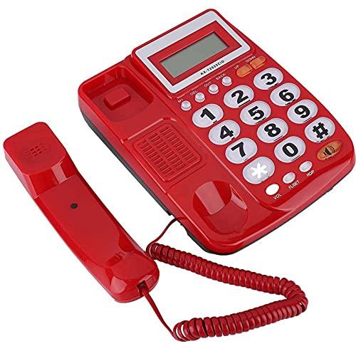 Teléfono con Cable Mesa con Cable Teléfono Fijo con póster LCD para Hotel Oficina en casa Regalos Sala de Estar Dormitorio Estudio Junto a la Cama Hotel Tienda en casa, etc.Teléfono con Cable Rojo c