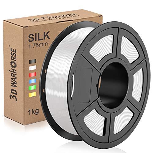 Silk PLA Plus Filament, 1.75mm 3D Printer Filament, Shiny Metallic Silk PLA+ 3D Printing 1KG Spool, Dimensional Accuracy +/- 0.02mm, White