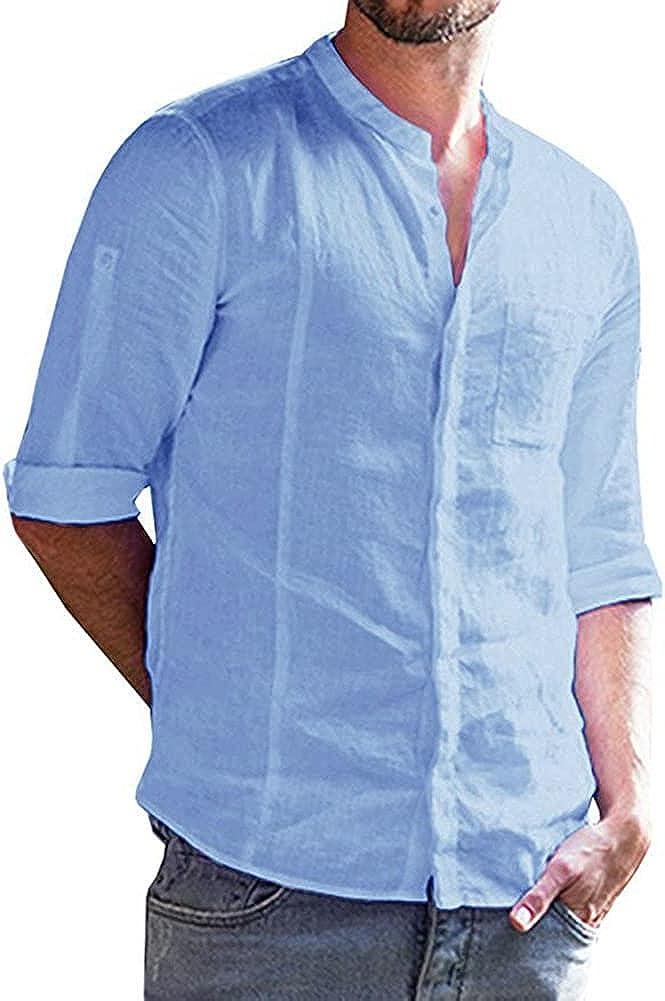 CHUANGFU Men's Linen Henley Shirt Long Sleeve Casual Hippie Cotton Beach T Shirts V-Neck Loose Casual Shirt