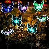 iFCOW Luz solar para jardín, IP65, mariposa, 7 colores que cambian, poste de luz solar LED para patio, cama de flores,...