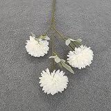 ASDGSDS Flores Artificiales, 1 Bundle 3 Heads Ball Silk Carnations Bouquet Vases for Home Decor Christmas Wedding Flowers Silk Floristics Artificial Flowers,White