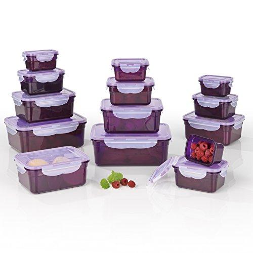 GOURMETmaxx 02432 Frischhaltedosen Klick-it, Luftdichte Aufbewahrungsboxen, 28 Teile, Geeignet für Mikrowelle, Gefrierschrank und Spülmaschine, Kunststoff-Bpa Frei
