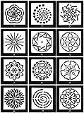 Lirener 12 Stück Bullet Journal Grafiken Schablonen Mandala-Muster, Kunststoff Vorlagen DIY Malerei...