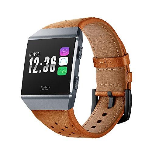 Dee Plus Echtes Leder Uhrenarmband Für Fitbit Ionic, Mode atmungsaktiv Smart Uhrenarmband Armband Ersatz Armband für Fitbit Ionic, Herren Frau Leder Armband atmungsaktiv Ersatzarmbänder