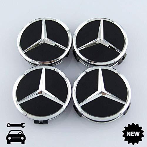 Für Mercedes-Benz 4 Stück AMG Radnabenabdeckung SCHWARZ MATT Stern Nabendeckel 75mm Nabenkappen Felgendeckel Radkappen Wheel Hub Caps