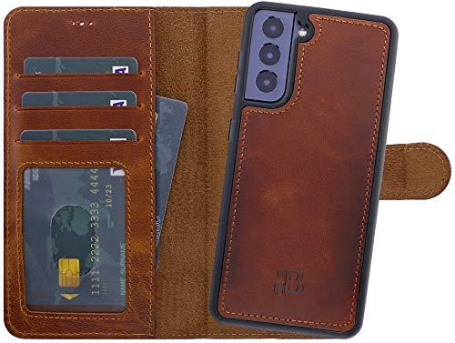 Burkley Handyhülle für Samsung Galaxy S21 (5G) Leder-Hülle mit Abnehmbarer Schutz-Hülle kompatibel mit Galaxy S21 Detachable Cover Hülle - TÜV geprüfter RFID Schutz (Sattelbraun/Burnished)