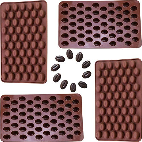AnFun 4 Pieces Mini Coffee Beans Chocolate Mold Candy Ice Cube Jelly DIY Cake Decoration Food-Grade Silicone Bakeware Mould Baking Molds