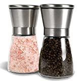 Salt and Pepper Shakers, Salt Mills, Salt and Pepper Grinder Set - - Spice Grinder with AdjustableCoarseness - Easy to Fill Salt and Pepper Mill set (Set Of 2)