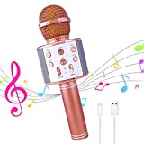 Wireless Karaoke Microphone,Bluetooth Dancing LED Lights Handheld Portable Speaker Karaoke Machine,Compatible with Android & iOS Devices,Home KTV Outdoor Party (Rose Gold)