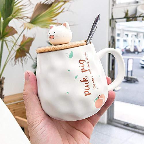 HPPSLT Taza De Café De Cerámica, Regalos Creativos para Amigos y Familiares, Taza guarra de durazno Lindo corazón Femenino con Cuchara de Tapa-1