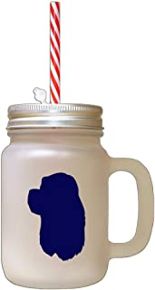 Navy American Cocker Spaniel Silhouette Frosted Glass Mason Jar With Straw