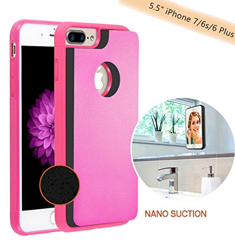 """Anti Gravity Selfie Case for iPhone 8 plus/7 plus/6 plus/6s plus (5.5 inch), Hands Free Nano Suction Stick to Glass, Tile, Car GPS, Most Smooth Surface (Pink - 5.5"""")"""