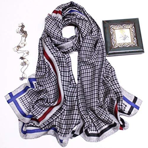 Lang Zijden sjaal, Mode Dames Lang Zijden sjaals 100% zijde Sjaal Afdrukken Sjaal Inpakken voor vrouwen Cadeaus, Mulberry Silk Anti allergie 175 x 60 cm,Gray