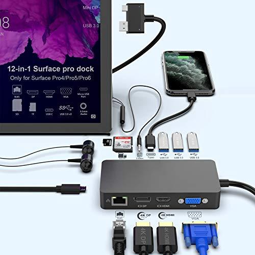 Surface Pro docka för Surface Pro 4/Pro 5/Pro 6 USB Hub Dockningsstation med Gigabit Ethernet-port, 4K HDMI VGA DP-skärm, 3 x USB 3.0-portar, ljudutgångsport, USB C-port, SD/TF(Micro SD) kortläsare
