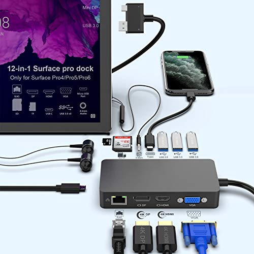 Surface Pro Dock for Surface Pro 4/Pro 5/Pro 6 USB Hub Docking Station with Gigabit Ethernet, 4K HDMI VGA DP Display, 3xUSB 3.0, Audio Out, USB C, SD/TF Card Slot Combo Dock Only for Surface Pro 4/5/6