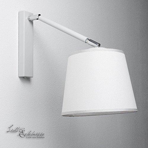 Práctica Lámpara de pared en blanco Bauhaus Estilo 1x E27 hasta 60 Vatios 230V de gewebten Tela & Metal Pasillo Salón Comedor Lámparas Iluminación Aplique