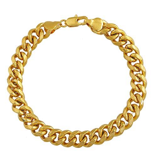 TLBL Pulsera de eslabones cubanos, chapada en oro de 18 quilates, para hombres y mujeres, adecuada para regalos de cumpleaños para hombres o mujeres.