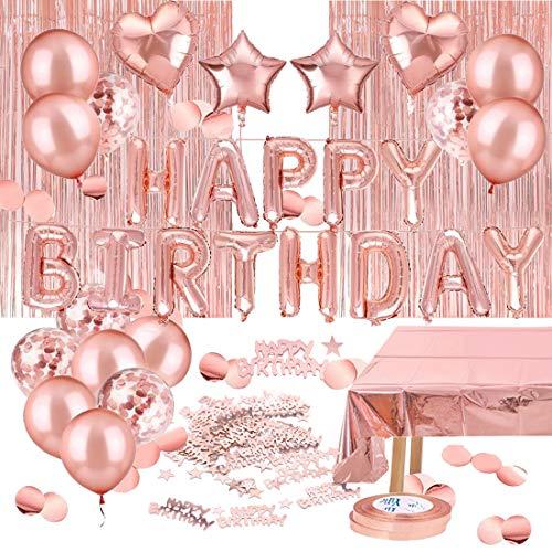 Decoración de Fiesta de Cumpleaños en Oro Rosa, Feliz Cumpleaños Guirnalda Globos de Confeti, Mantel de Oro Rosa Cortina Oropel, para Fiesta de Niña Decoración de Cumpleaños