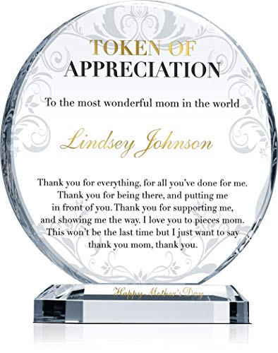 mom plaques Personalized Crystal Mother Appreciation Gift Plaque, Customized with Mother's Name and Personalized Message, Unique Mother Gift Plaque from Son, Daughter for Mother's Day, Mother Birthday (M - 6.5