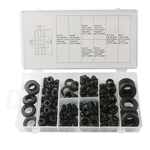 COCODE Rubber Grommet Kit Ring Assortment Set Electrical Gasket Tools for Wire, Cable and Plug, 8 Different Sizes with Storage Box, 180 Pieces