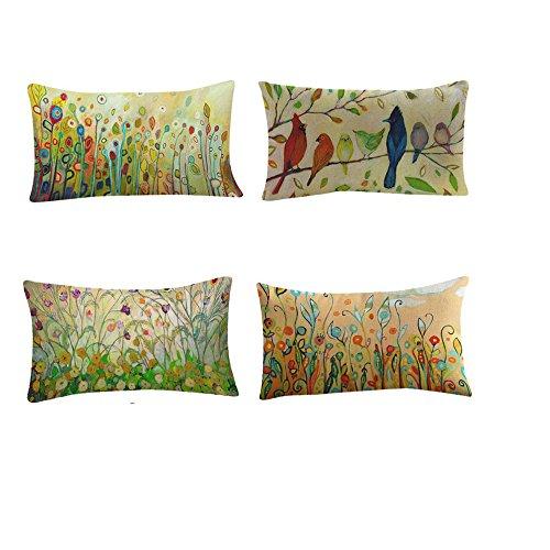 Fossrn Fundas Cojines 30 x 50 Vintage Flor Pájaro Hojas Fundas De Cojines para Sofa Jardin Cama Decoración del hogar Cuadrado Funda de Almohada (4PC/Set)