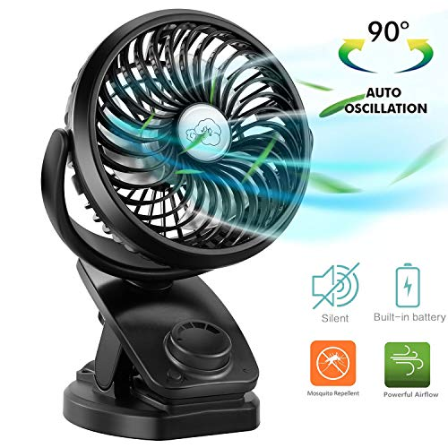 COMLIFE Mini Clip Ventilator mit 90° Auto Rotation 360° Drehung, Tragbarer Wiederaufladbarer USB Leise Ventilator mit Diffusorfunktion für Schlafzimmer Büro Auto Kinderwagen [2019 Neueste]
