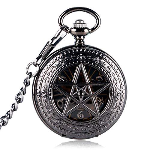 DBSCD Taschenuhr Black Pocket Watch Hour Hot TV-Serie Supernatural Pentagram Mechanischer Handwind Kronenmuster Steampunk