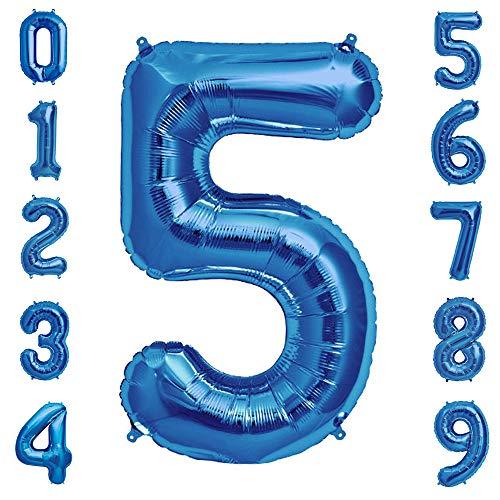 Tellpet Number 5 Balloon, Sapphire Blue, 40 Inch