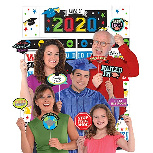 Party City 2020 Graduation Multicolor Family Photo Booth Supplies with Selfie Station Props and Rainbow Scene Setter