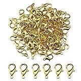 Suaywo 100 Piezas Dorado Cierres de Mosquetón 12MM Cierres para Pulseras Cierres de Pinza de Langosta para Pendientes, Pulseras, Collares, Colgantes, Joyas, Manualidades