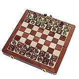 QIU Ajedrez Internacional Conjunto con Placa de ajedrez de Madera Plegable y Piezas de ajedrez de Metal de Piezas de Metal clásicas a Mano para niños Adultos